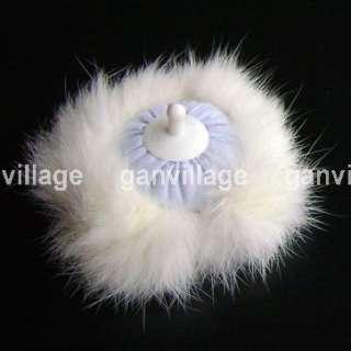 Super Soft Fluffy Body Powder puff Rabbit Fur Blue New