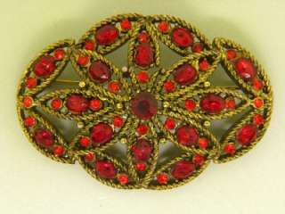 SIGNED HOLLYCRAFT RUBY RED VINTAGE RHINESTONE GOLD PLATED EARRINGS
