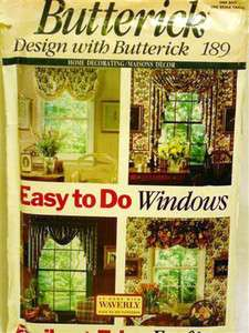 PATTERN BUTTERICK 189 EASY TO DO CURTAINS WITH VALANCE & JABOT
