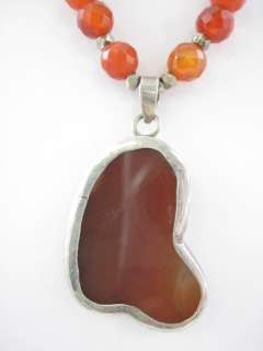 VINTAGE DESIGNER SS Carnelian Bead Large Necklace