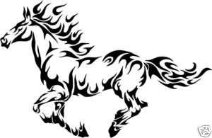 Horse Flames Equestrian Trailer Truck Sticker Decal 24