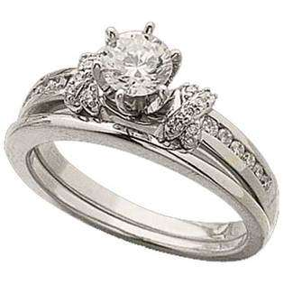 Jewelrydays 14Kt White Gold Diamond Wedding Ring Set (Center stone is