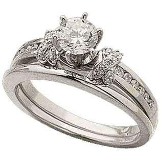 Jewelrydays 14Kt White Gold Diamond Wedding Ring Set (Center stone is