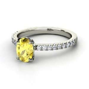 Colette Ring, Oval Yellow Sapphire 14K White Gold Ring