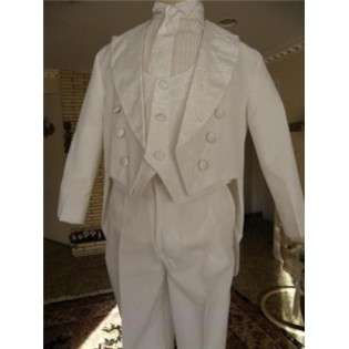 Baby Boy WHITE Tuxedo tail suit/Christening Baptism/wedding/GB  ANGEL