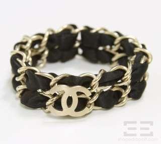 Chanel Black Satin & Brushed Gold Logo Double Chain Link Bracelet