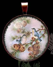 Vtg Blue Birds Postcard Charm Necklace/Pendant TBM005