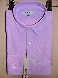 DKNY LILAC MINI CHECK PATTERN/BUTTON DOWN SLIM FIT DRESS SHIRT NEW