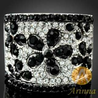 Arinna rich honour black petal white gold GP Swarovski Crystals finger