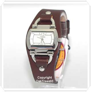 FOSSIL WOMENS BROWN CUFF LEATHER WATCH ES2482