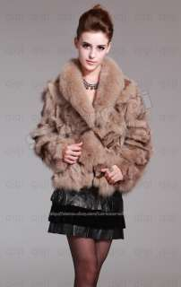 100% Real Genuine Fox Fur Coat Fox Collar Wearcoat Jacket Vintage in