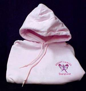 Breast Cancer Survivor Ribbon Butterfly Hoodie Pink XL