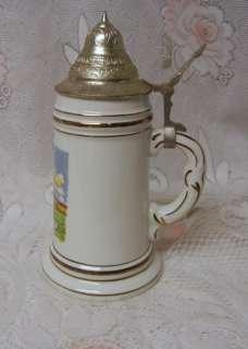 Vintage GERZ German Beer Stein Mug Porcelain LITHOPHANE