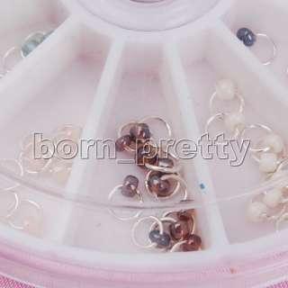 120pc Pearl Nail art Dangle Ring w/ Bead Charming Nail art Decoration