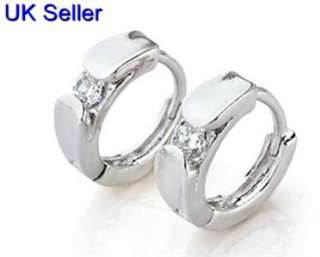 cute small real white gold filled cz hoop earrings 1