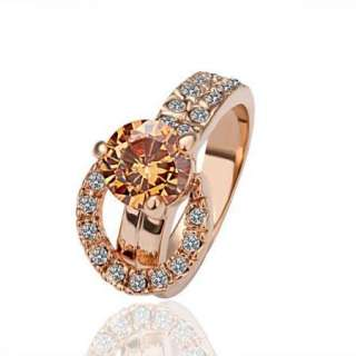 New 18K rose Gold plated Swarovski Yellow gem Ring size 8 R2