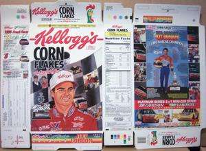 1996 Jeff Gordon NASCAR Kelloggs Corn Flakes Cereal Box unused Flat