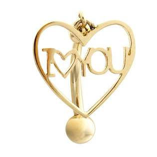 Love You Heart 14kt Yellow Gold Belly Button Ring  FreshTrends