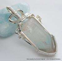 Natural AJOITE PHANTOM QUARTZ POINT Sterling Silver WIRE WRAP PENDANT