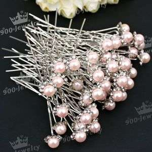 PINK FAUX PEARL CRYSTAL WEDDING PARTY HAIR PIN 50PCS HOT SALE