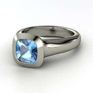Geneva Ring, Cushion Blue Topaz 14K White Gold Ring Jewelry