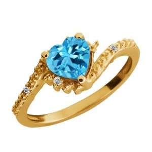 Ct Genuine Heart Shape Swiss Blue Topaz Gemstone 10k Yellow Gold Ring