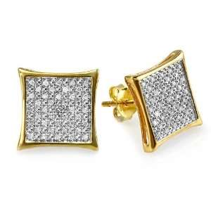 com 18k Gold Plated Sterling Silver Round Diamond Two Tone Stud Kite