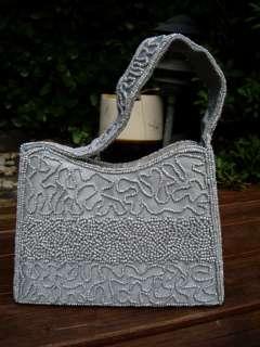 Vintage CARLO FELLINI Gray Beaded Evening Bag Purse