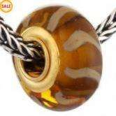 Gold Plated Chocolate Glass Bead Fit Bracelet Hot V51