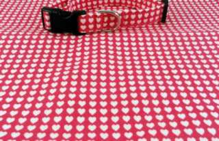 Awesome White Hearts on Hot Pink Dog or Cat Collar