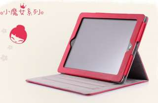Girl Lopez Leather Smart Case Cover Stand for iPad 2 Pink/ Red