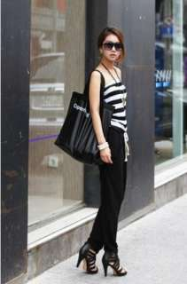 Womens Strapless Stripes Stitching Jumpsuits Rompers Long Pants