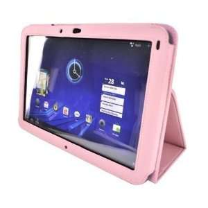 Pink Carbon Fiber Folio Leather Stand Case for Motorola