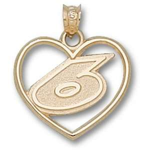 Mark Martin Drivers Number Heart Gold Plated Pendant