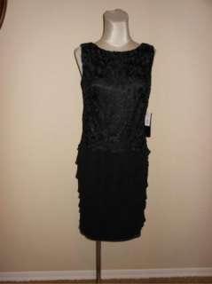 NWT Jones New York Black Lace Tiered Chiffon Cocktail Dress 6 $168