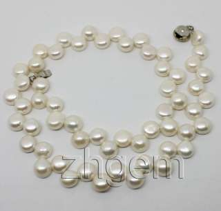 9mm natural white freshwater pearl choker necklace 15