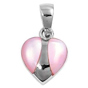 Heart Shaped Stone Pendant with Pink Mother Of Pearl and