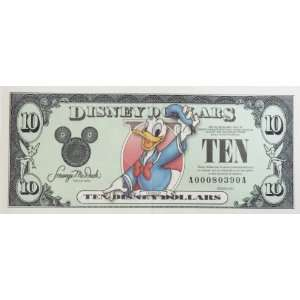 Disney Dollars $10 Bill Donald 2003 Series   Disney Parks Limited