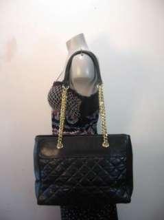 Vintage QUILTED Large Black Leather Tote Shoulder Bag Purse Fabulous