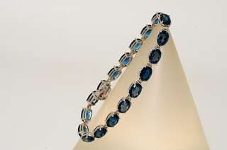 22.00CT OVAL CUT LONDON BLUE TOPAZ TENNIS BRACELET GORGEOUS