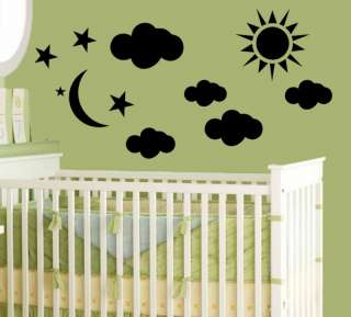 Clouds Sun Moon Kid Room Decor Wall Sticker Vinyl Decal