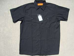Authentic DICKIES Work Shirt Brand New Short Sleeve Button Up BLACK