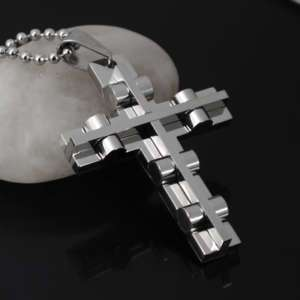 Cool Mens Stainless Steel Cross Pendant Necklace Chain
