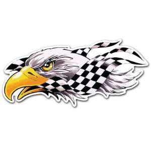 Eagle Bird Head Racing Flag Car Bumper Sticker Decal 7x3