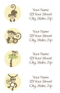 30 CoCaLo Monkey Time Return Address Labels   Neutral Monkey Baby