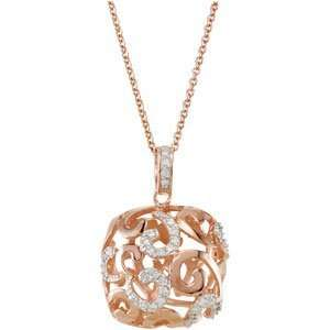 14K Rose Gold Plated Cubic Zirconia Necklace With 2 Extender