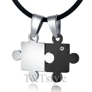 Stainless Steel Puzzle Pendant Necklace For Couple Two Chain (NP123