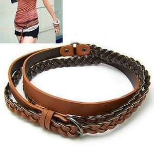 Ladys Double Wrap Braided Knit Skinny Belt 2 Color // Free Ship
