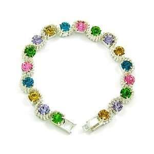 Silvertone Multi Colored Rhinestone Bracelet Fashion Jewelry Jewelry