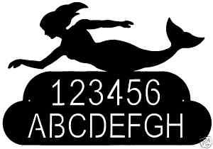 custom MERMAID steel metal house home address sign art